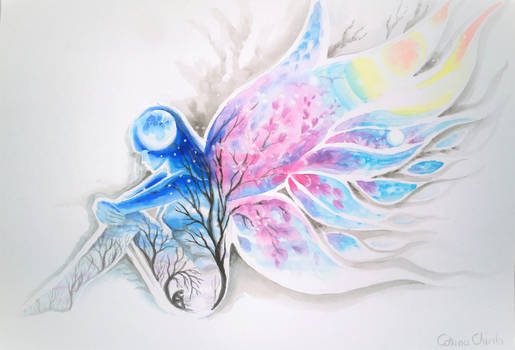 between blue loneliness and the wings of a dream
