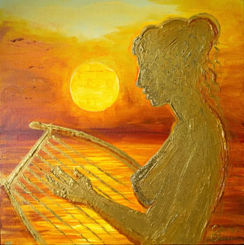 The muse of Sappho playing lyre on the sunset on L