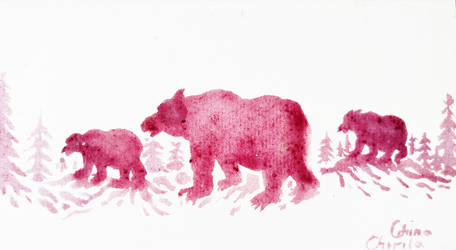 Bears painted with wine