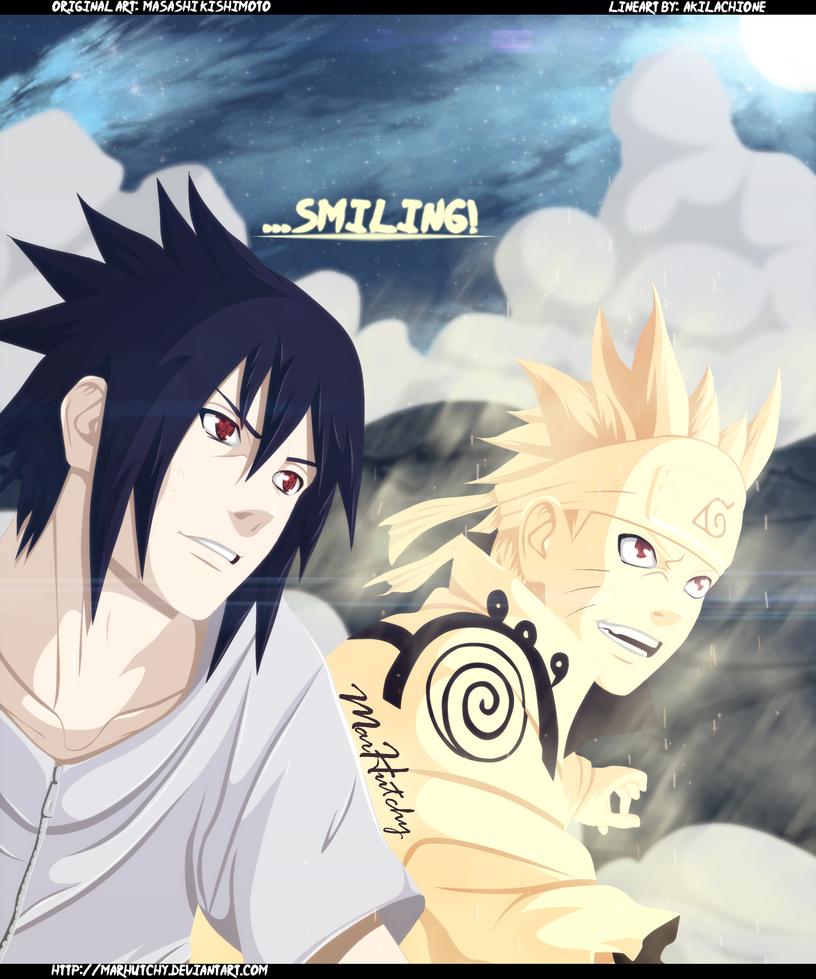 Naruto 641: Naruto and Sasuke Smile by MarHutchy