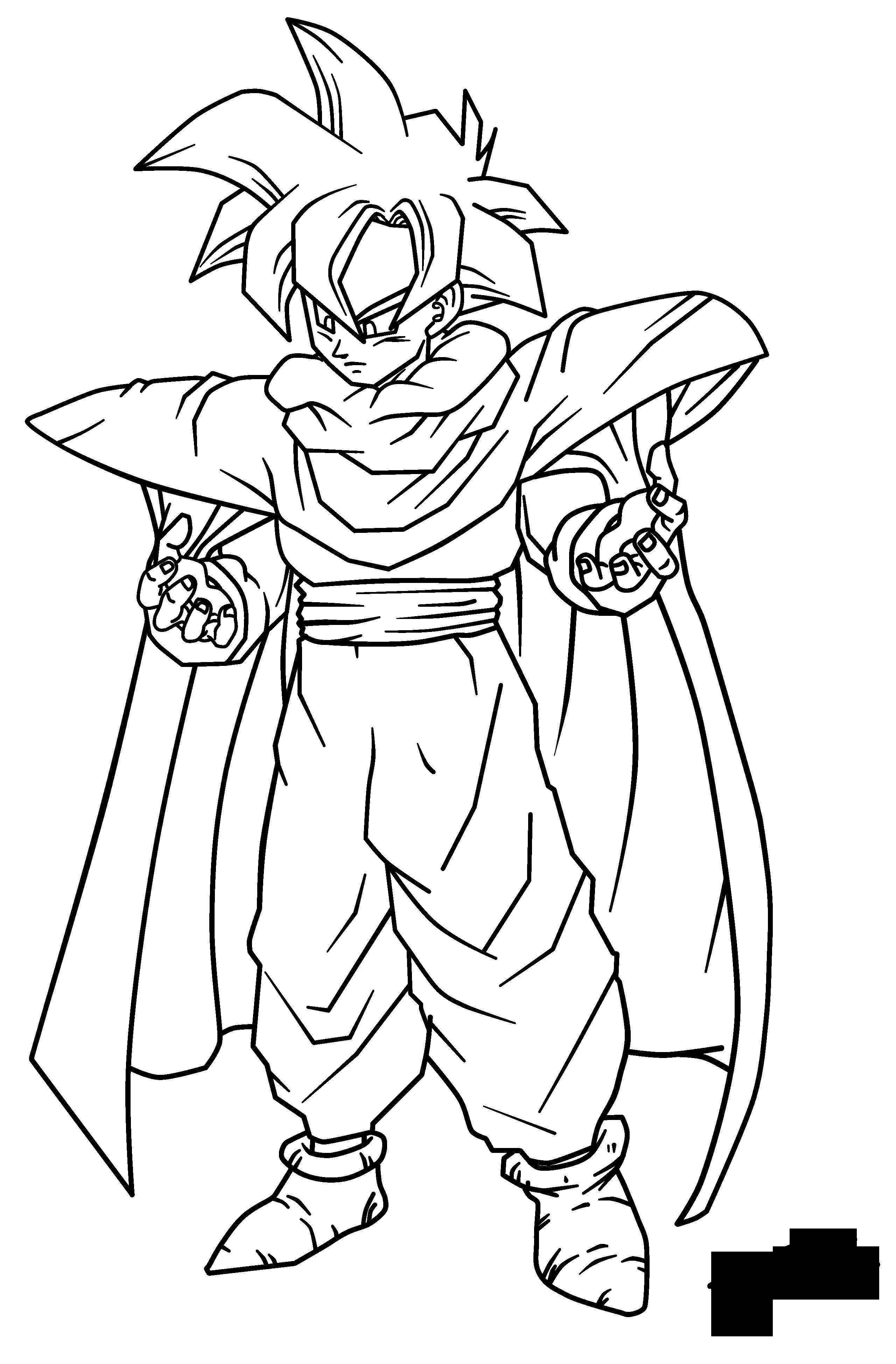 Gohan traje Piccolo Lineart + Color - El Mundo de Dragon Ball