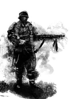 German Soldier with MG-42