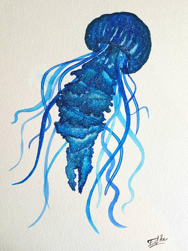Watercolor Jellyfish by Eif-ka