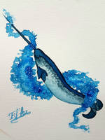 Watercolor narwhal by Eif-ka