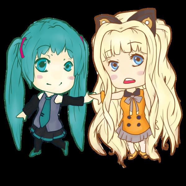 Chibi Hatsune Miku and SeeU from Vocaloid~ by jennerality