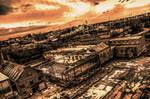 World in ruins under a fiery sky