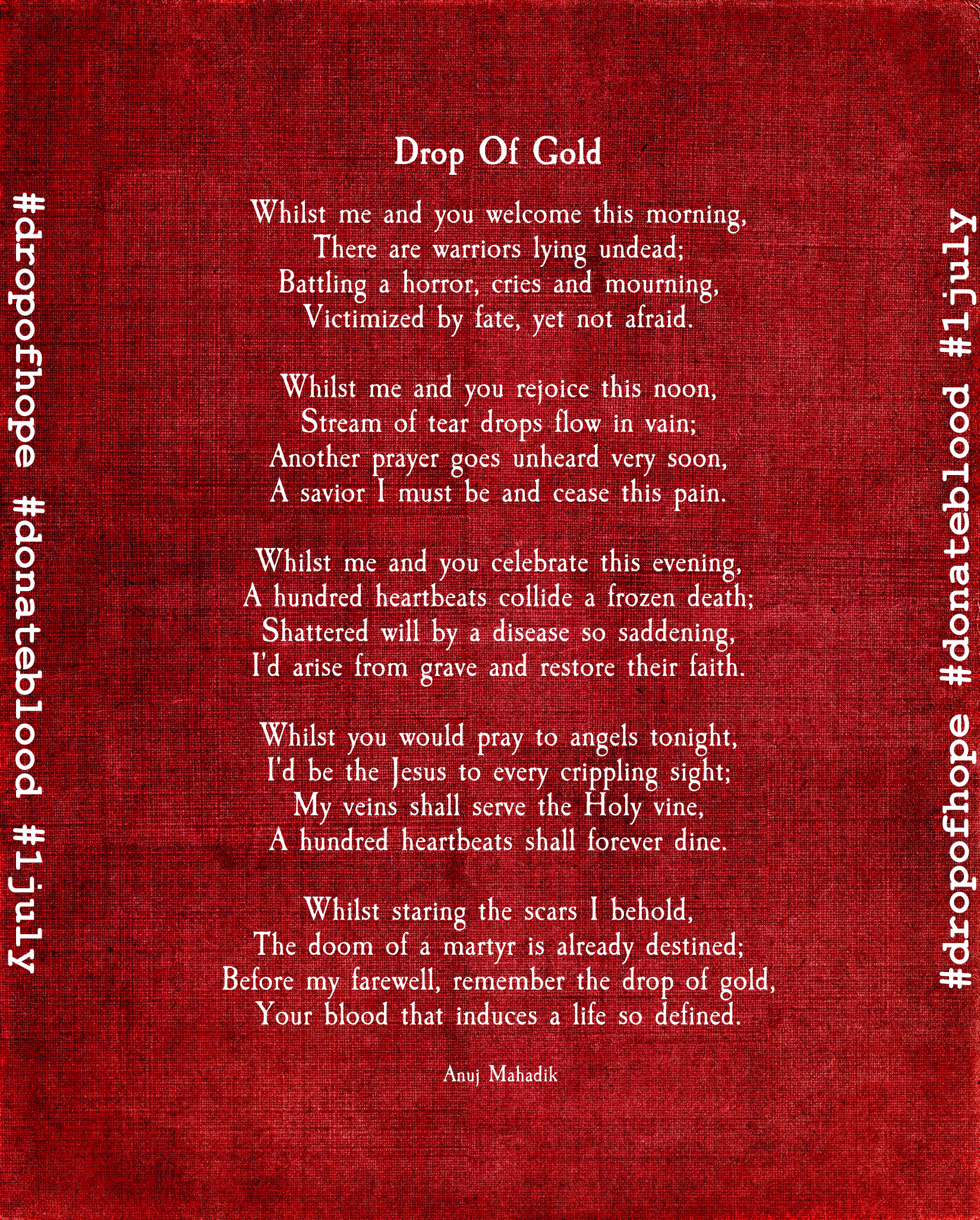 Drop Of Gold | Poem about Blood Donation by AnujKorrupted