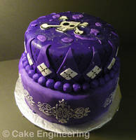 Pretty purple skull cake by cake-engineering