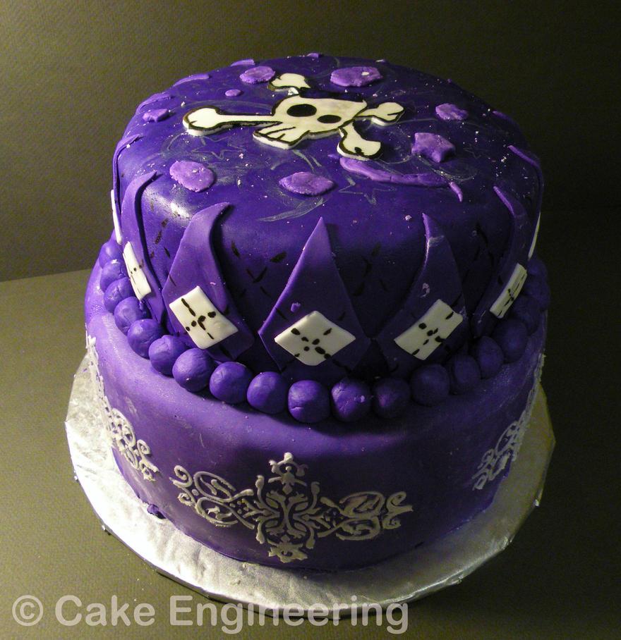 Pretty purple skull cake by cake-engineering on DeviantArt