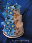 Blue daisy and calla lily cake