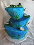 Topsy Turvy Frog Wedding cake