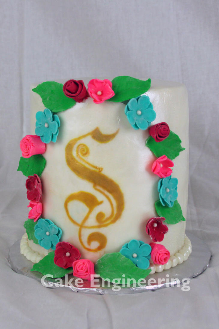 Monogram Wedding Cake by cake-engineering
