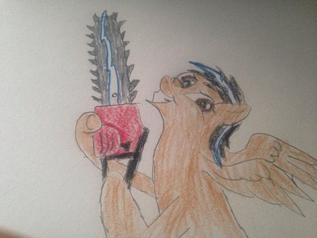 My oc with a chainsaw by carlosisaboss24