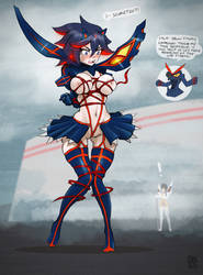 Ryuuko being wardrobely challenged by uberis