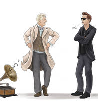 Aziraphale tries to make it TWO angels that dance