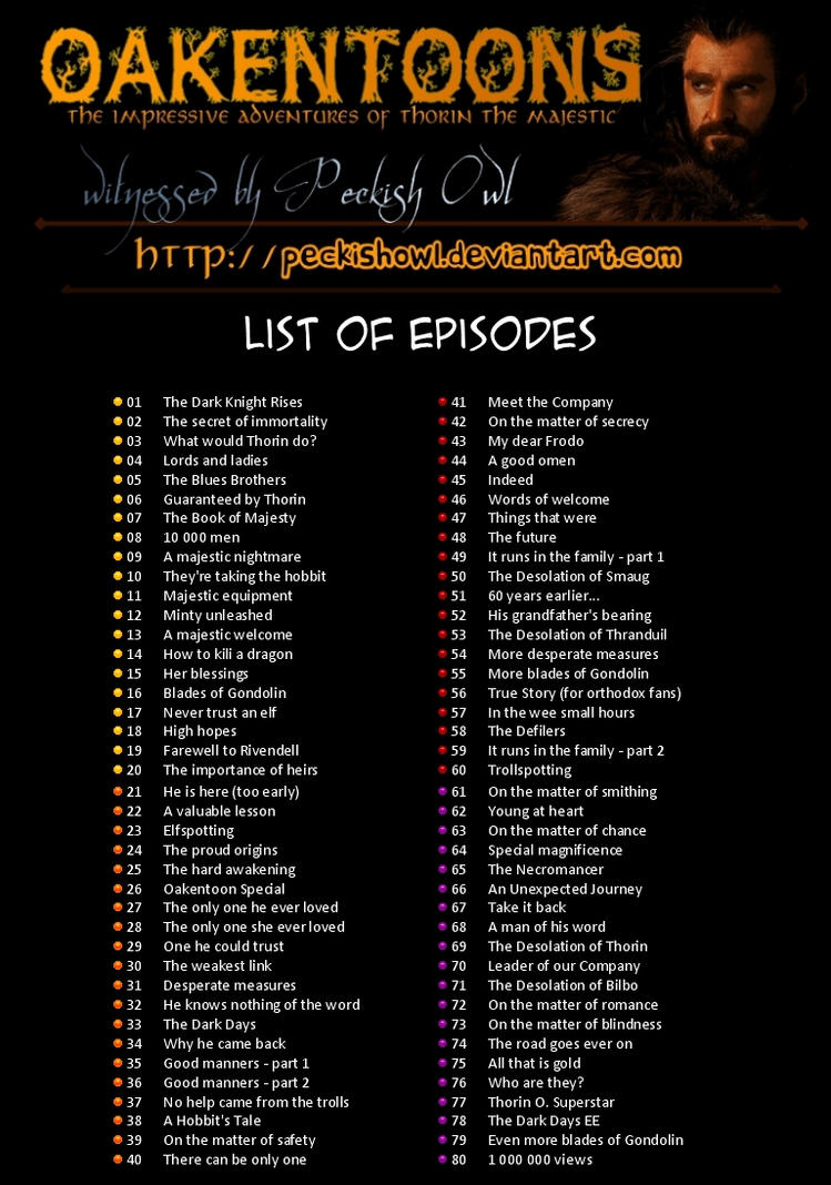 Oakentoons - List of Episodes, part 1 by PeckishOwl