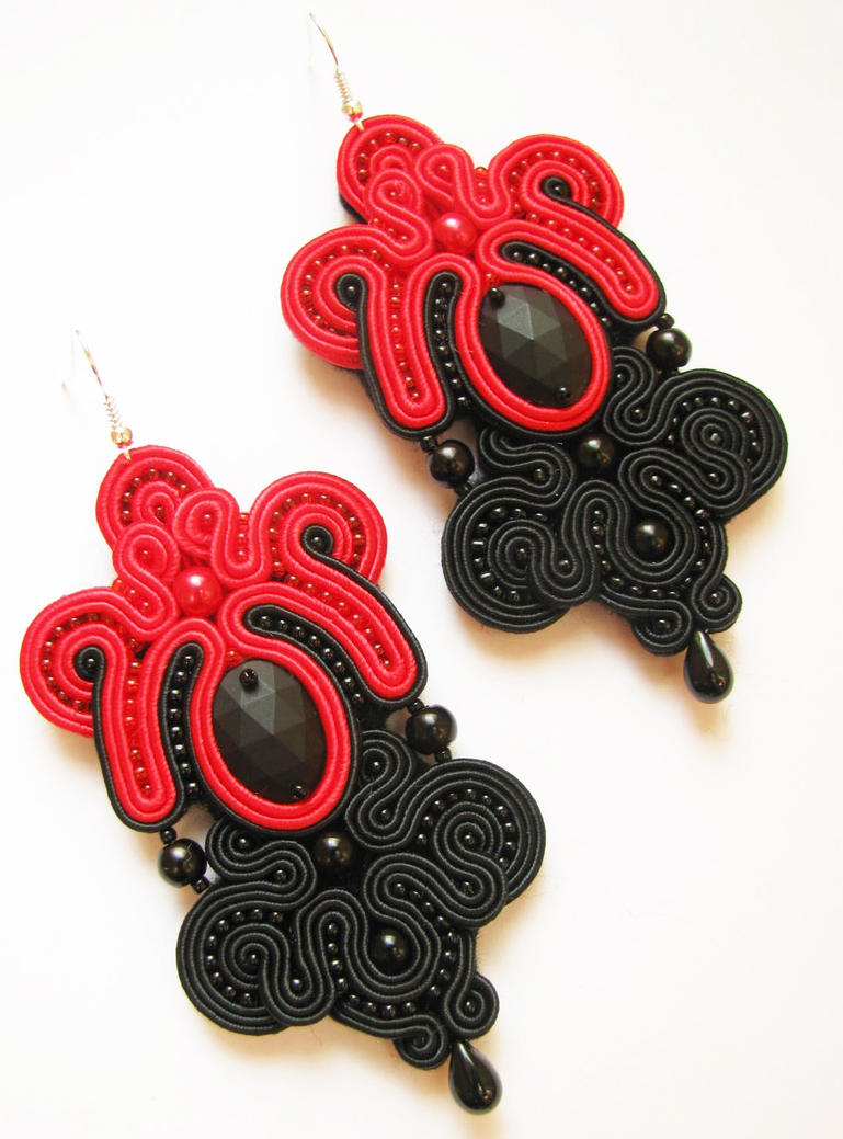 Earrings soutache red and black by gosiabizu on deviantart for Red black and green jewelry