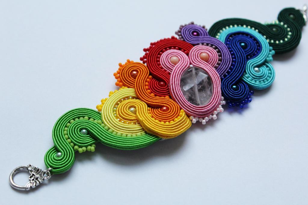 Bracelet Rainbow soutache by GosiaBizu