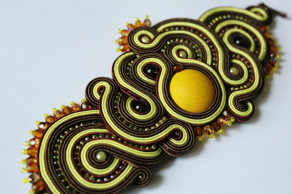 Bracelet soutache brown and yellow by GosiaBizu