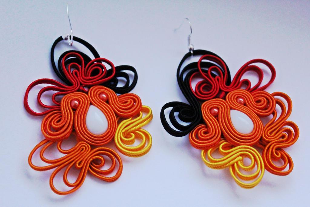 Earrings Autumn soutache by GosiaBizu
