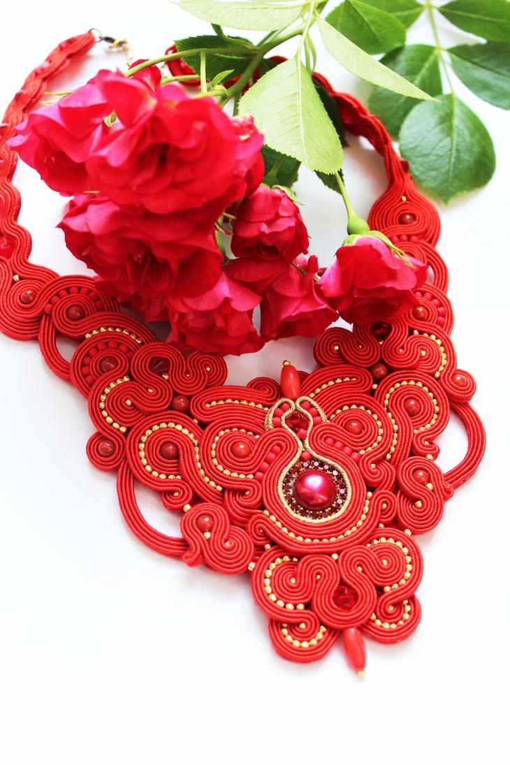 Red Necklace soutache by GosiaBizu