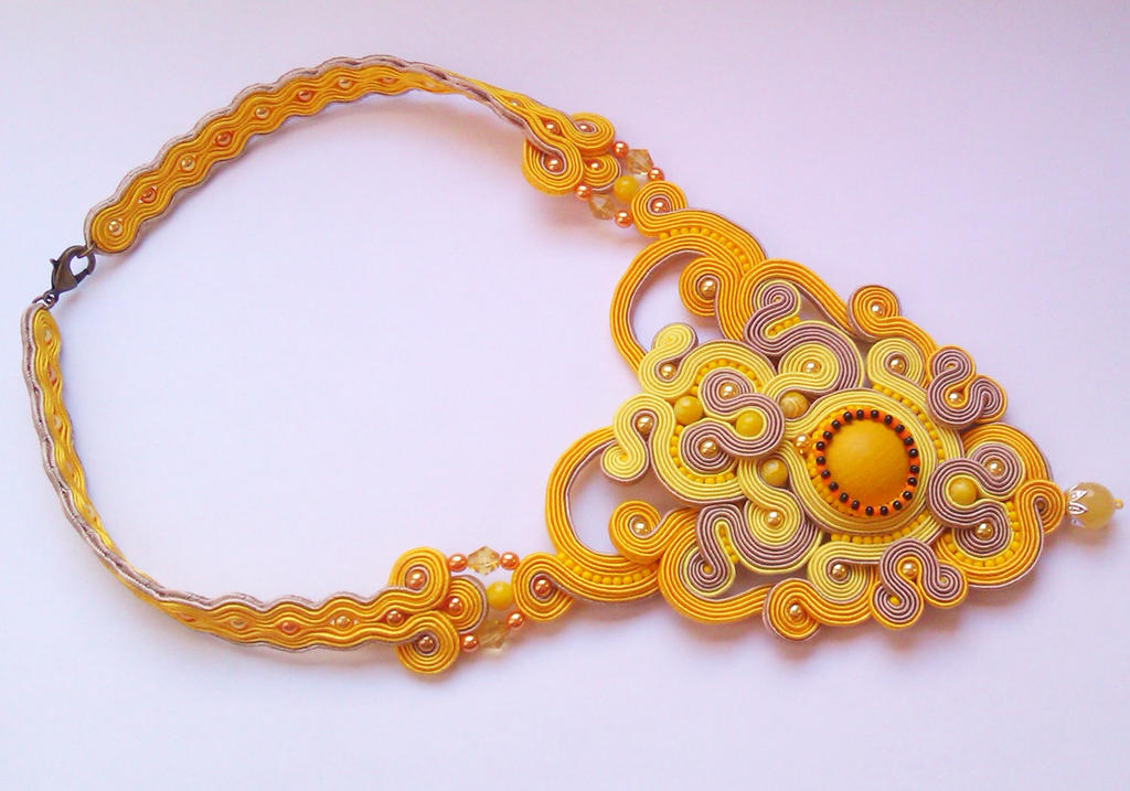 Soutache Necklace Sunshine by GosiaBizu