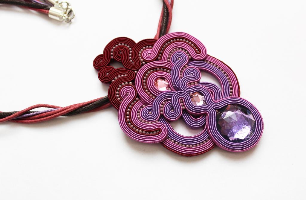 Necklace purple soutache 15.09.2015 by GosiaBizu