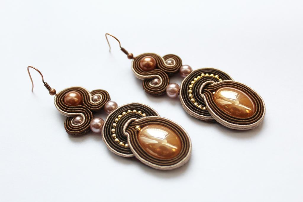 Earrings soutache Chocolate by GosiaBizu