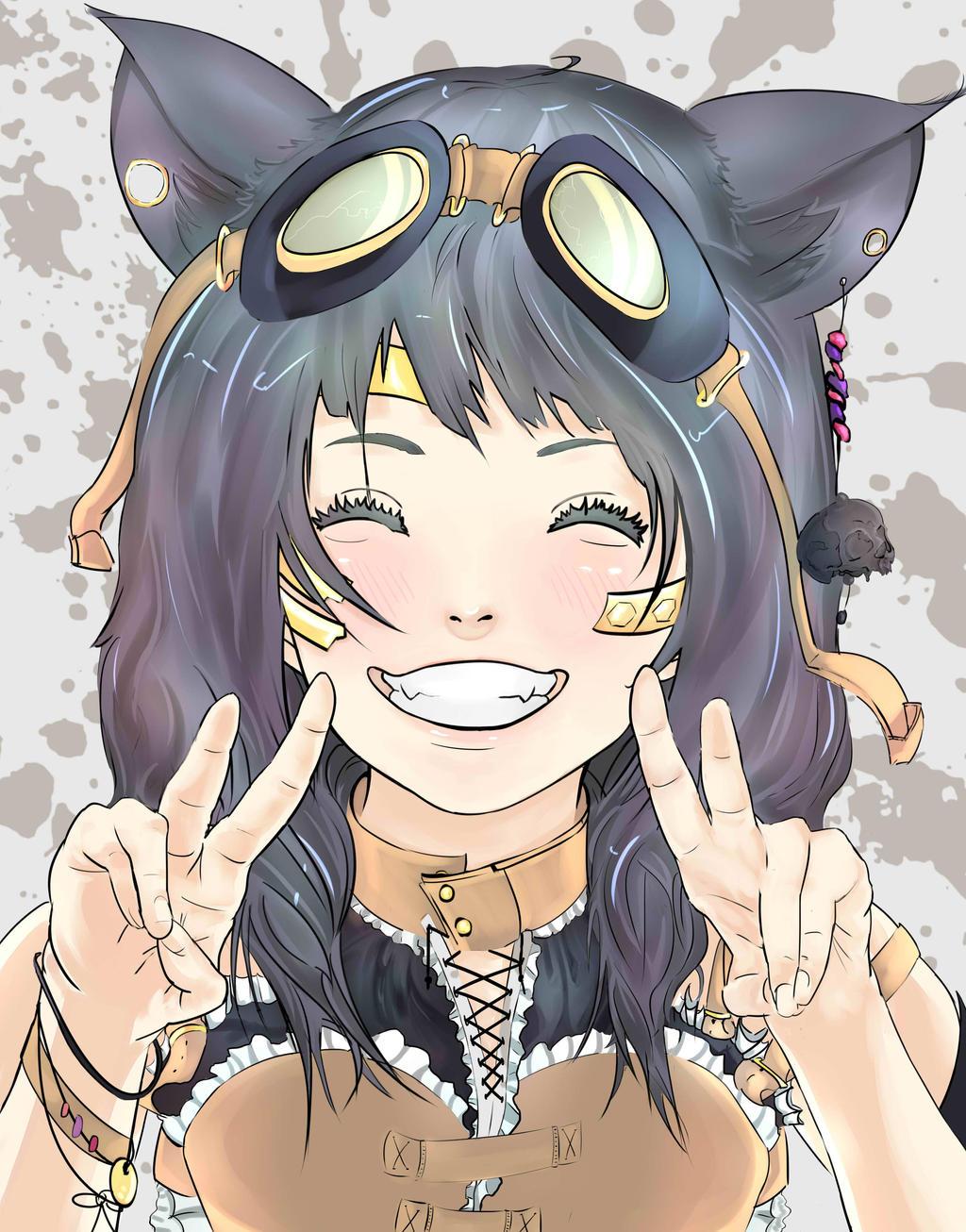 steampunk anime girl color by diehardpizzalover on