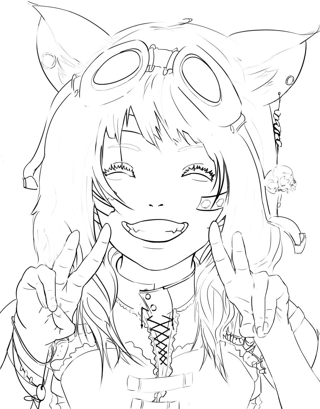 Line Drawings From D Models : Steampunk anime girl linework by diehardpizzalover on