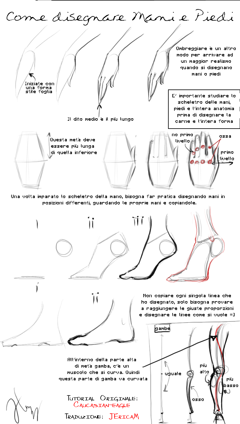 Favoloso ITALIANO] Disegnare mani e piedi Tutorial by JEricaM on DeviantArt FJ73