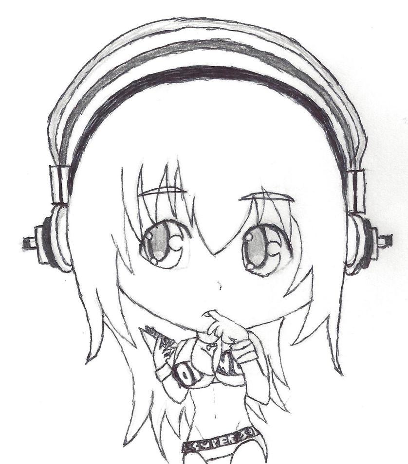 Super Sonico Chibi Sketch by Sh0cK3R-Rotom