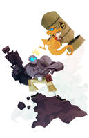 Atomic Robo vs Dr. Dinosaur by Tigerhawk01