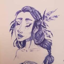 Feathers - Pen Doodle by Doelle-Luceu