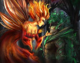 Tree Spirit and Fire Fairy by ZazzyCreates