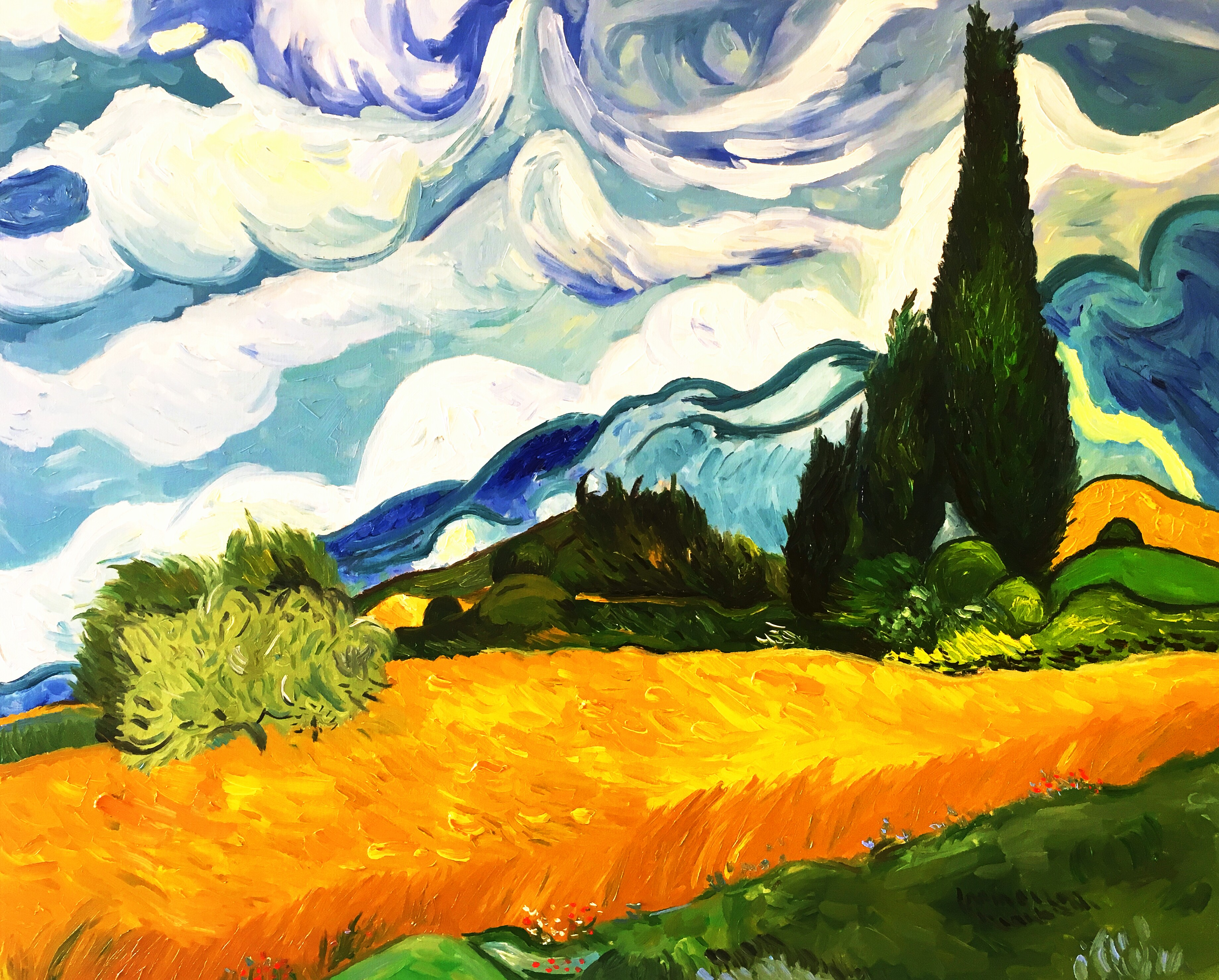 Wheatfield With Cypresses Wallpaper Vincent's Wheatfield w...