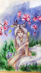My first work with watercolor paint..... by DamnedBorn