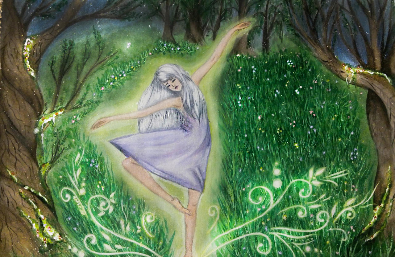 Dance in the woods....(watercolor paints) by DamnedBorn