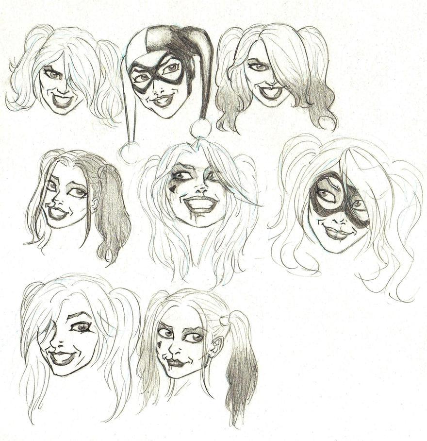 Harley Quinn faces by marcAhix
