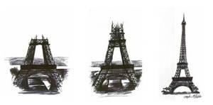 Eiffle Tower Triptic by tbonematrix