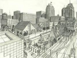 pencil cityscape by tbonematrix