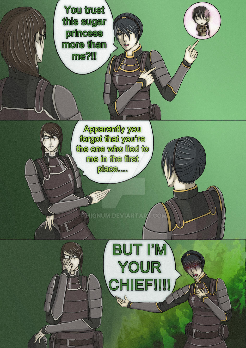 Toph Beifong and Liang Fai - Trust Issues by hignum on