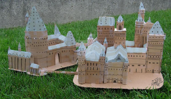 Cardboard hogwarts castle by 4verse8 on deviantart for Castle made out of cardboard