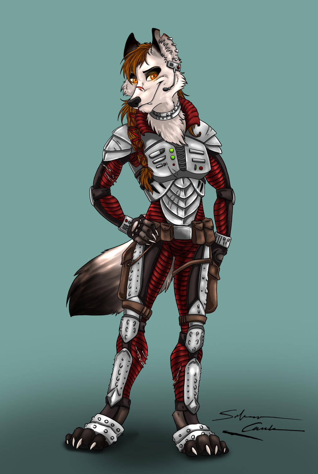 warrior wolf girl by S...