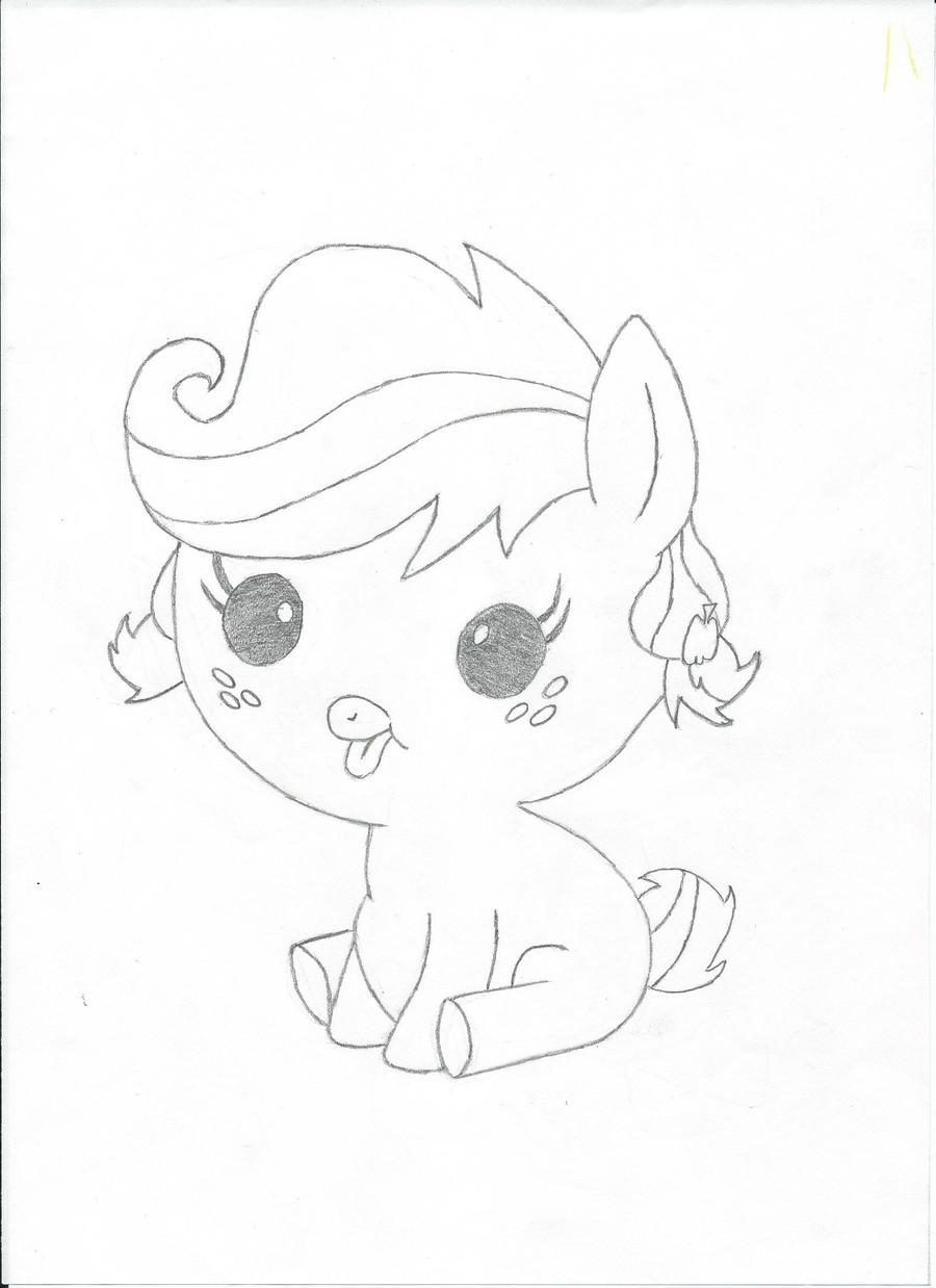 D Line Drawings Not Working : Baby applejack pencil line work by dweegee on deviantart