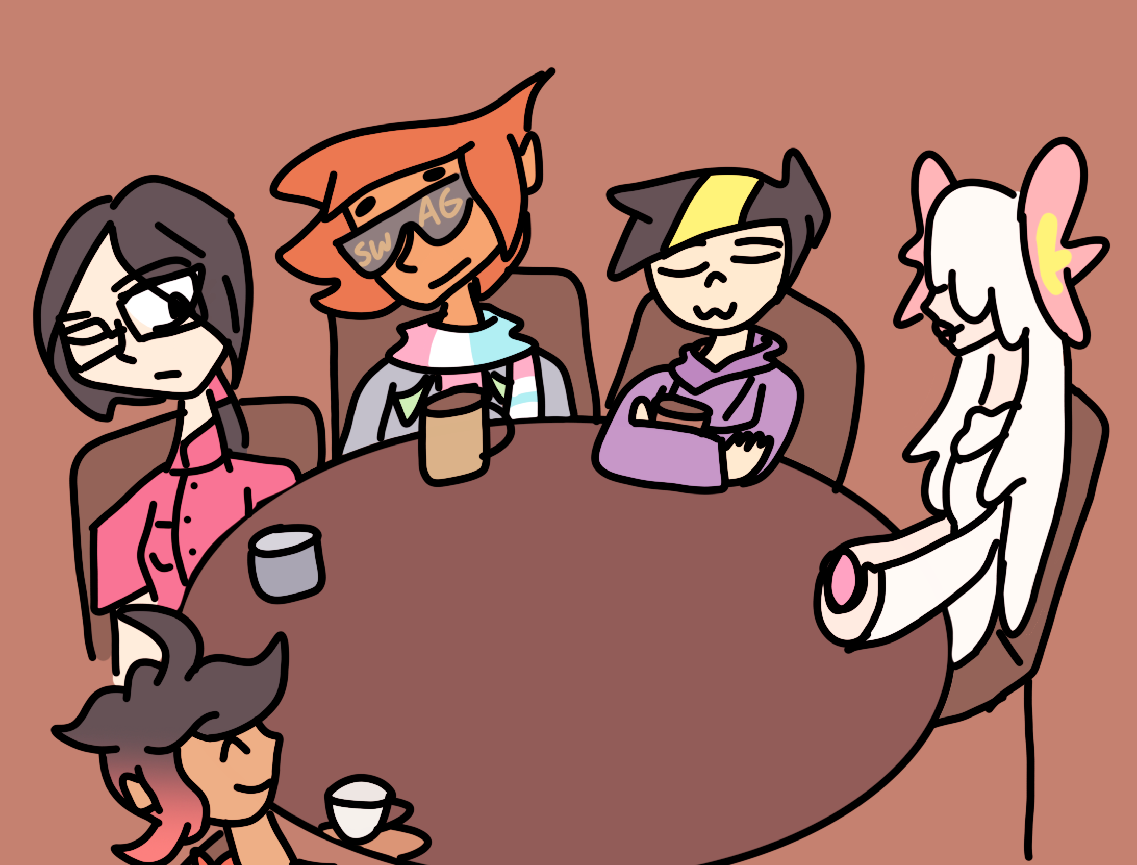 Rose, Glasses, Protagonist, Gear, and Blanche enjoy some drinks.