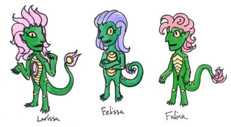 Larissa, Felissa, and Falina as Trolls