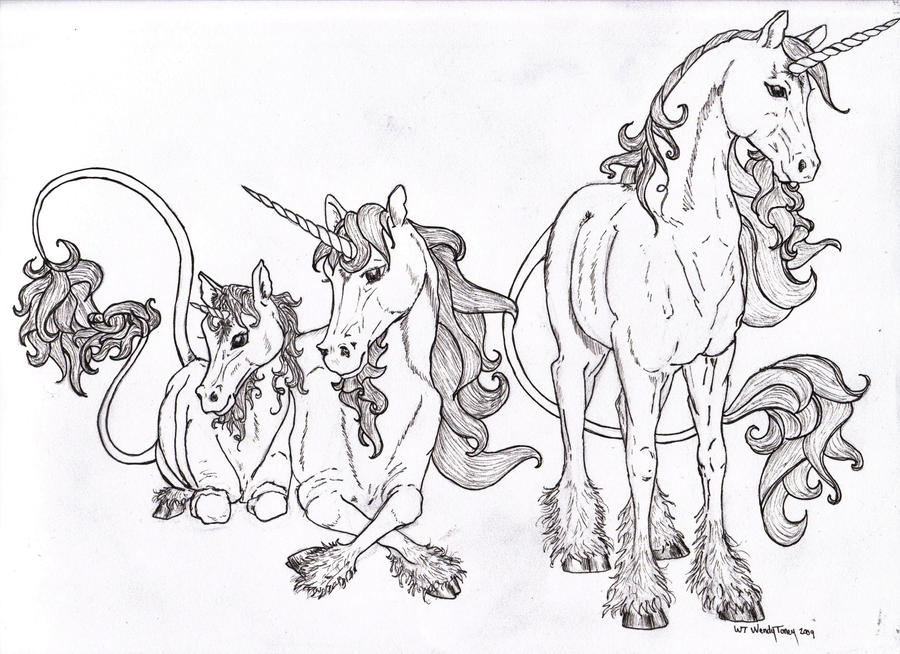 Unicorn Family Coloring Pages