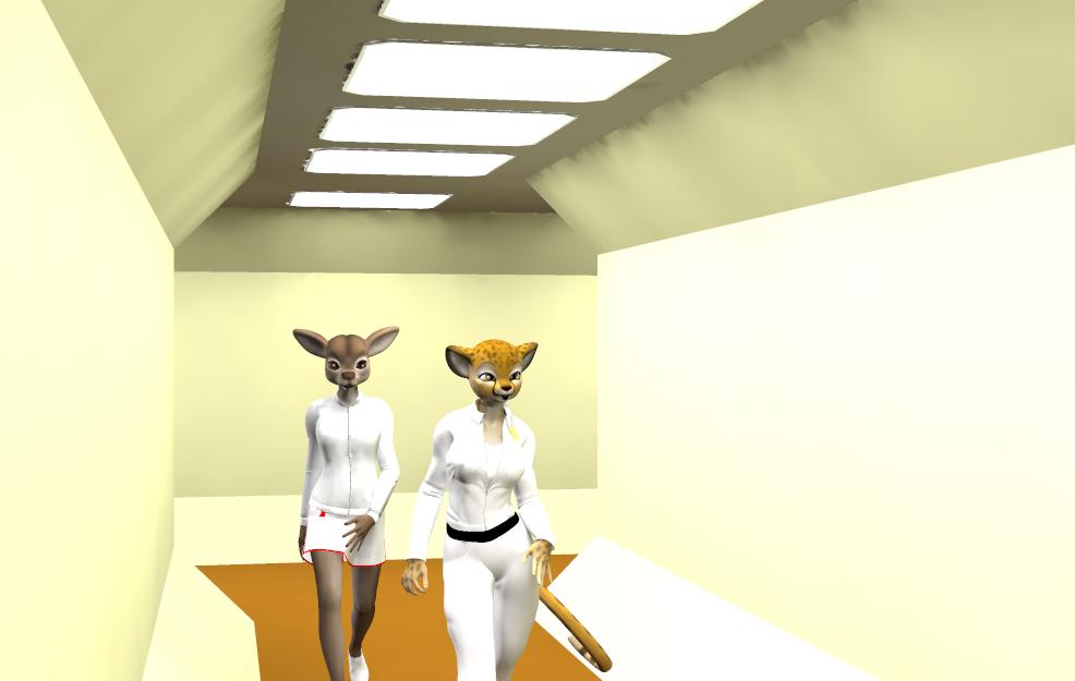 Cyntia and Estelle in corridor by LionkingCMSL