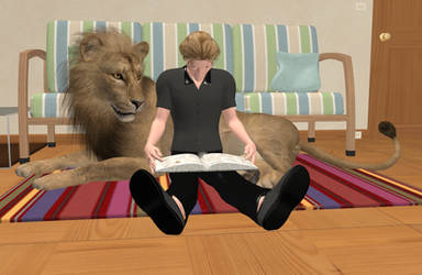Reading with a lion